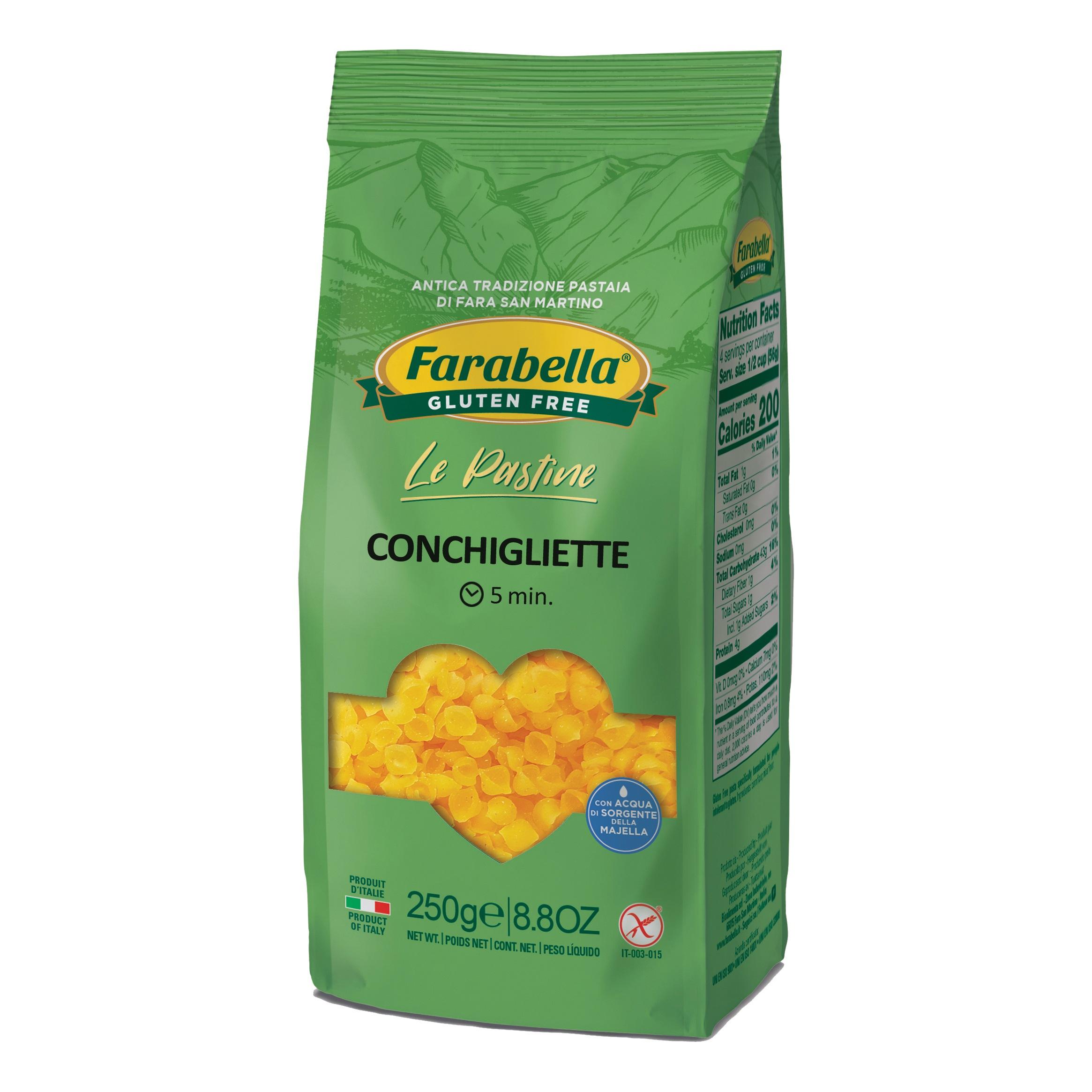 Conchigliette farabella senza glutine e senza lattosio